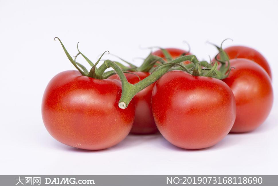 外表圆润光滑的西红柿摄影高清图片