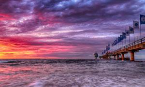 黄昏霞光大海自然风光摄影高清图片