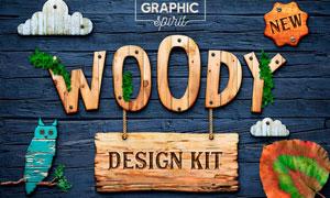 木質紋理風格樣式和裝飾圖片PS套裝