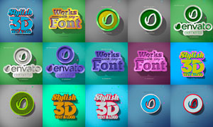 3D图案和立体字设计PSD模板