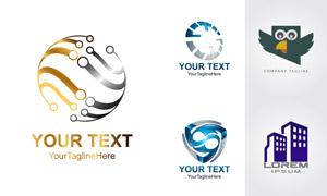 猫头鹰房子等元素标志设计矢量素材