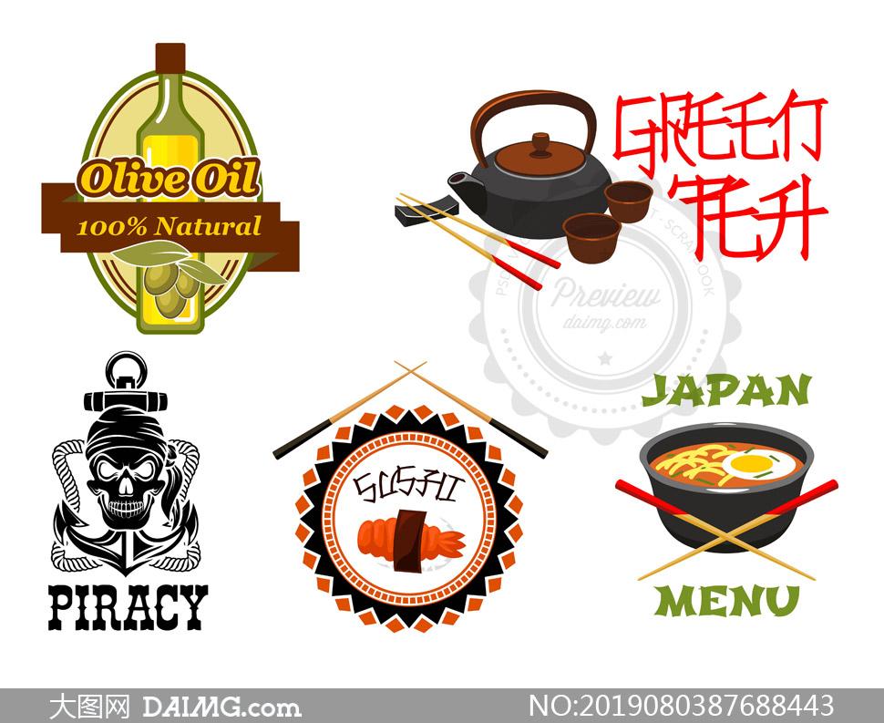 茶具筷子与橄榄油标志设计矢量素材