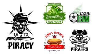 骷髅头足球等元素标志设计矢量素材
