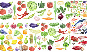 水彩效果蔬菜水果主题创意矢量素材