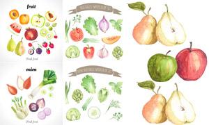 苹果与大葱等水果蔬菜水彩矢量素材