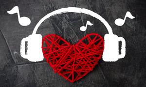 音符耳机涂鸦与心形的饰品高清图片