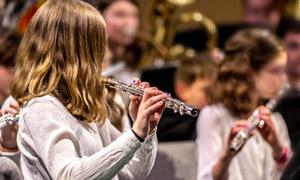 在吹奏管乐的乐团人物摄影高清图片