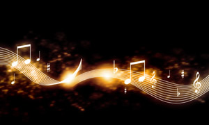 音符与波动的曲线创意设计高清图片
