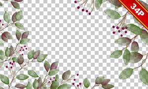 树叶装饰元素边框主题免抠图片素材