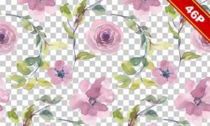 水彩效果绿叶花朵创意免抠图片素材