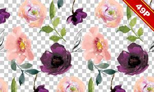 叶子与花朵等水彩创意设计免抠素材