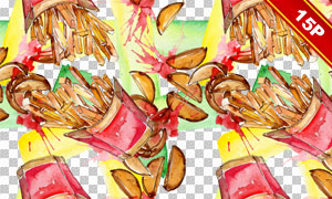 水彩效果薯条快餐主题免抠图片素材