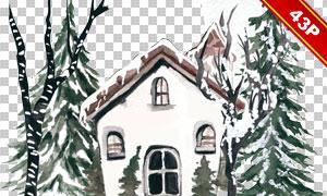 小鸟雪人与房子等水彩免抠图片素材