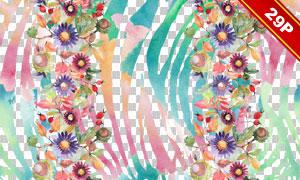 花朵装饰边框水彩创意免抠图片素材