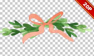 飘带与绿色藤蔓等水彩免抠图片素材