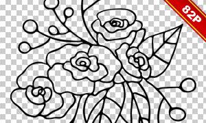 手绘素描花朵字母创意免抠图片素材