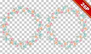 红花叶子组合装饰圆形边框免抠素材