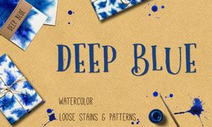 深藍色的抽象水彩風格背景高清圖片