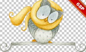 猫头鹰树木等元素创意高清图片素材