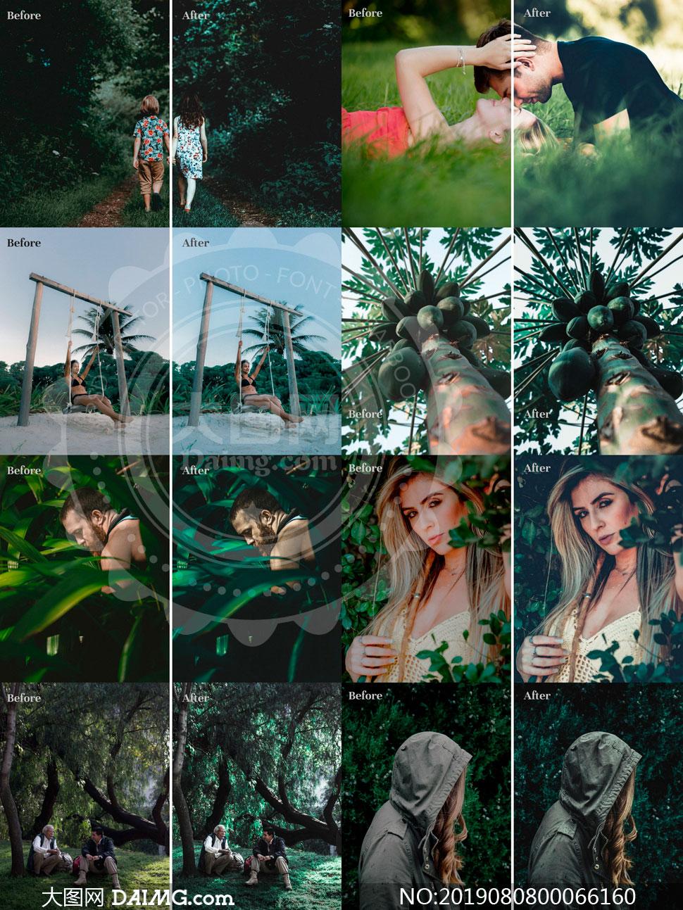 复古风格的森林绿色艺术效果LR素材