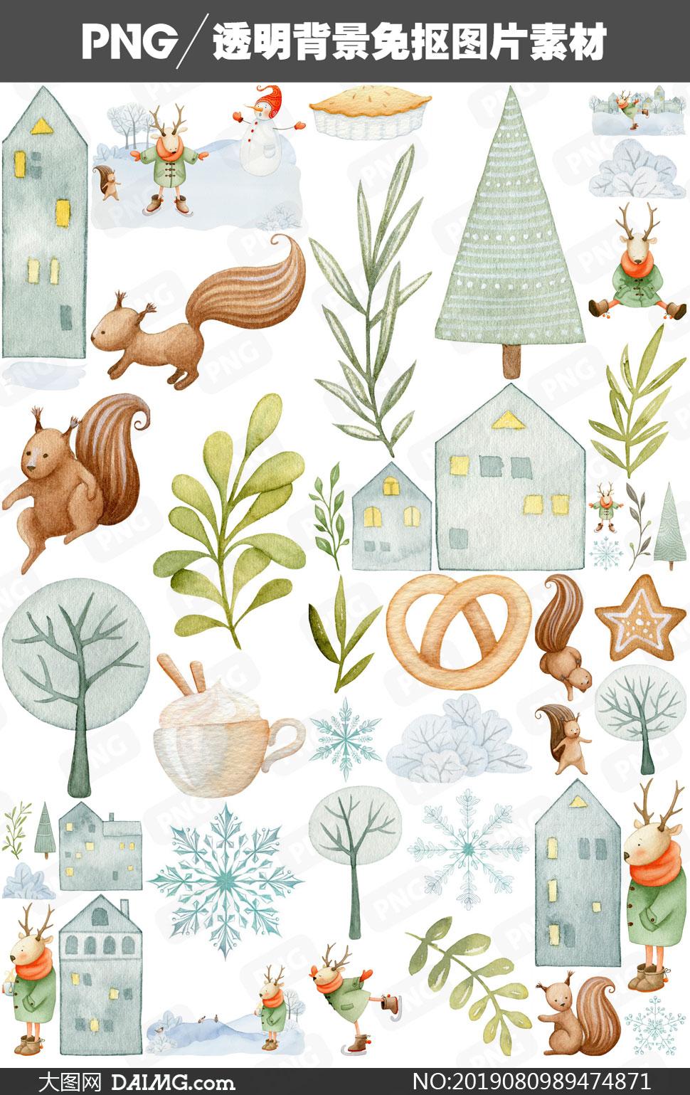 松鼠小鹿與房子等元素免摳圖片素材