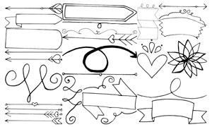 桃心与箭头等手绘线描元素矢量素材