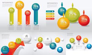 球体与箭头等元素信息图表矢量素材
