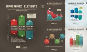圆形元素与数据统计图创意矢量素材