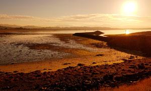 夕阳下的海边沙滩景观摄影图片