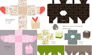 礼物盒包装展开效果设计矢量素材V07