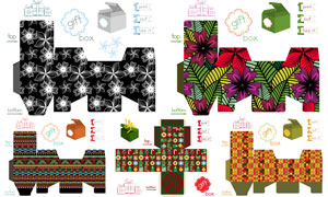 禮物盒包裝展開效果設計矢量素材V11