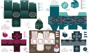 礼物盒包装展开效果设计矢量素材V12