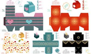 礼物盒包装展开效果设计矢量素材V14