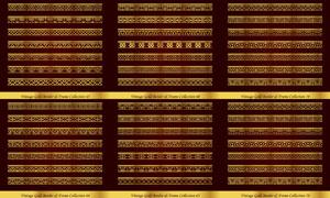 左右无缝拼接金色分隔线矢量素材V1