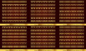 左右无缝拼接金色分隔线矢量素材V2