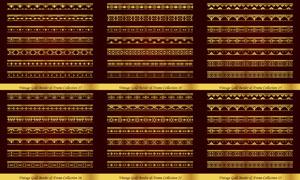 左右无缝拼接金色分隔线矢量素材V3