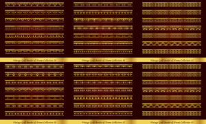左右无缝拼接金色分隔线矢量素材V4