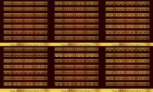 左右无缝拼接金色分隔线矢量素材V5