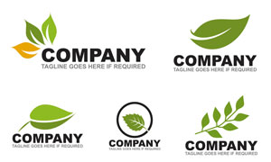 多种样式的绿叶元素标志矢量素材V2