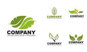 多种样式的绿叶元素标志矢量素材V4