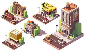 博物馆店铺等立体建筑创意矢量素材