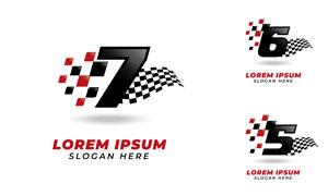 数字与赛车旗帜创意标志矢量素材V1