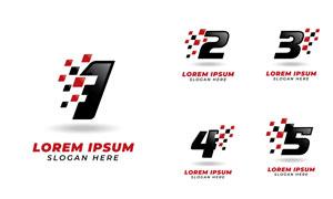 数字与赛车旗帜创意标志矢量素材V2