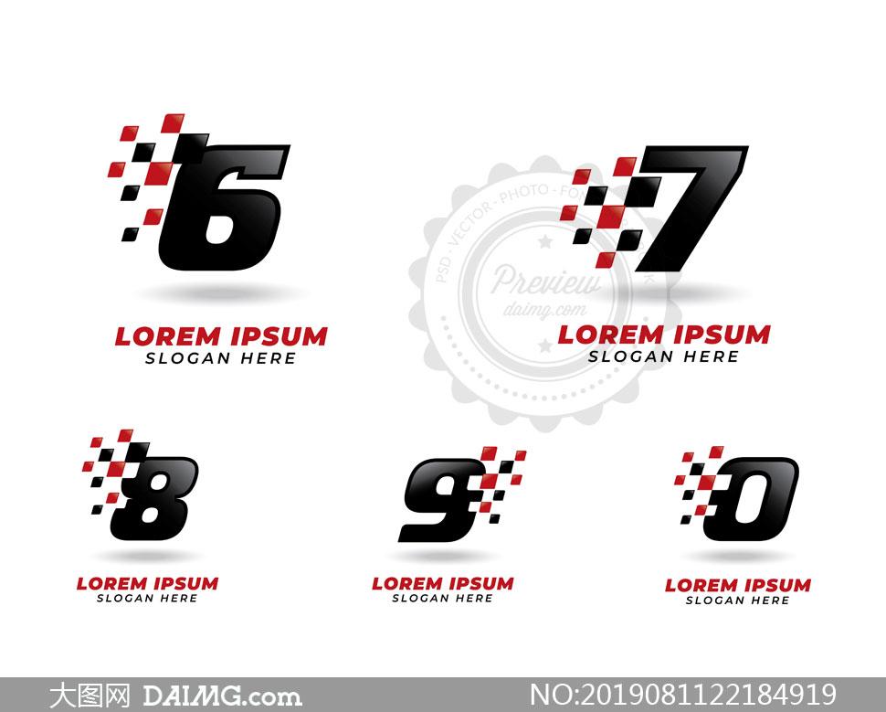 数字与赛车旗帜创意标志矢量素材V3