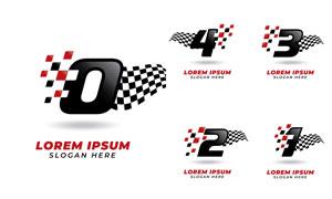数字与赛车旗帜创意标志矢量素材V4