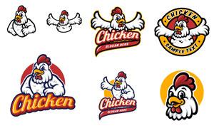 炸鸡店适用的卡通标志设计矢量素材
