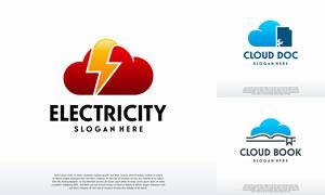 云朵与闪电等元素标志创意矢量素材
