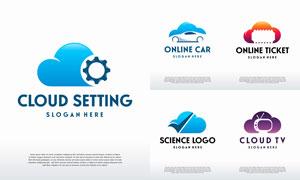 云电视与票务等主题标志设计矢量素材