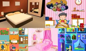 卧室空间与卡通儿童等创意矢量素材