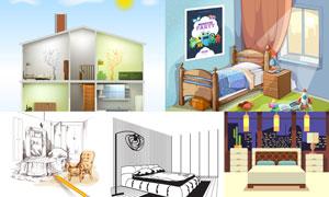 卧室房间情景主题创意设计矢量素材